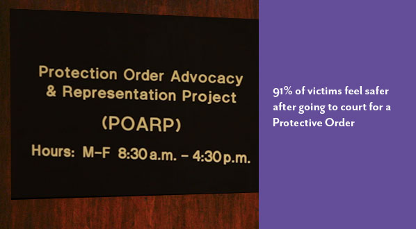 Photo of sign at the Protection Order Advocacy and Representation Project