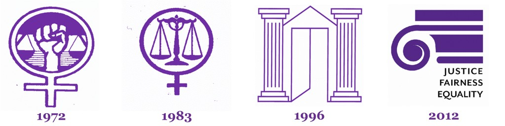 3 logos from the history of the Women's Law Center and  the current logo